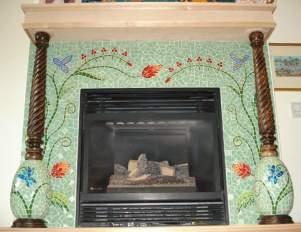Glass-mosaic-tile-fireplace-surround